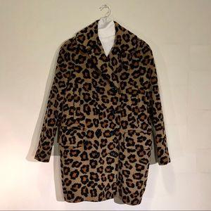 Coach Oversized Leopard Print Wool Peacoat